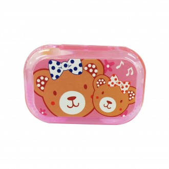Cutie Cartoon Contact Lens Case Set with Holder and Mirror In Pink